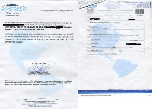 Meksyk wynajem samochodu - pisemne oświadczenie